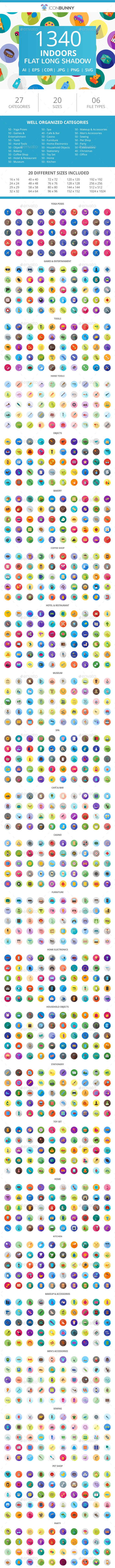 1340 Indoors Flat Long Shadow Icons - Icons