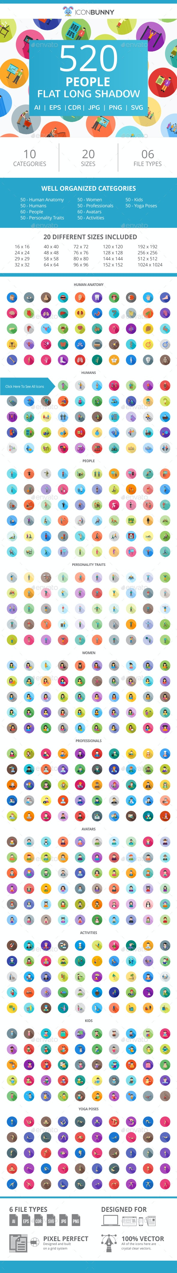520 People Flat Long Shadow Icons - Icons