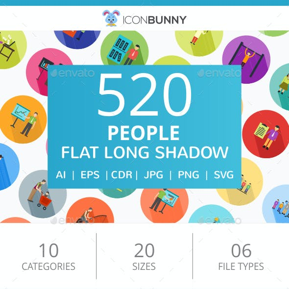 520 People Flat Long Shadow Icons