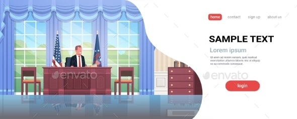 President Sitting Workplace Wooden Furniture USA - Buildings Objects