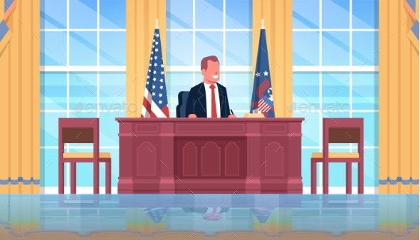 President Sitting Workplace Wooden Furniture USA - People Characters
