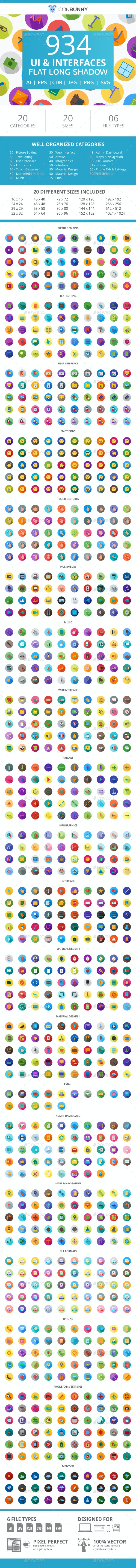 934 UI & Interfaces Flat Long Shadow Icons - Icons