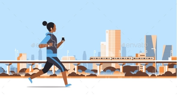 Fitness Woman Running Outdoor - Sports/Activity Conceptual