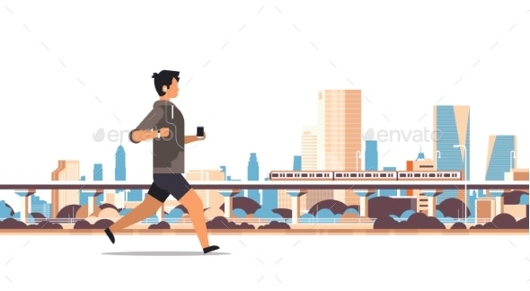 Fitness Man Running Outdoor Guy Listening to Music - Sports/Activity Conceptual