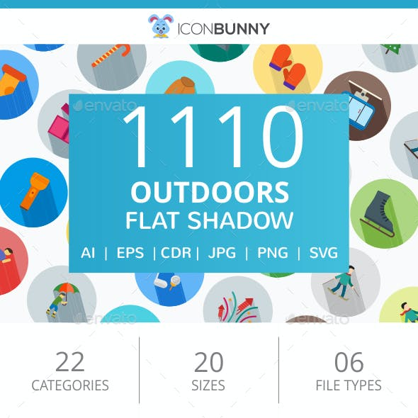 1110 Outdoors Flat Long Shadow Icons