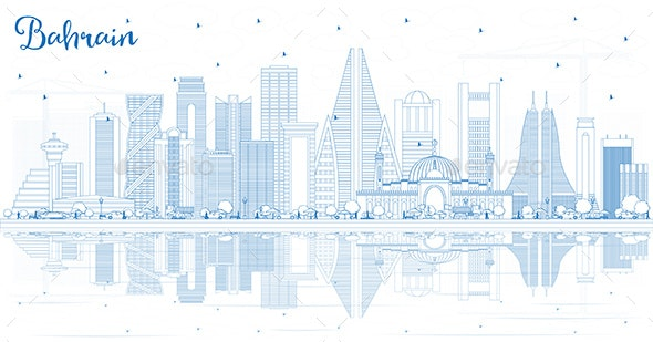 Outline Bahrain City Skyline with Blue Buildings - Buildings Objects