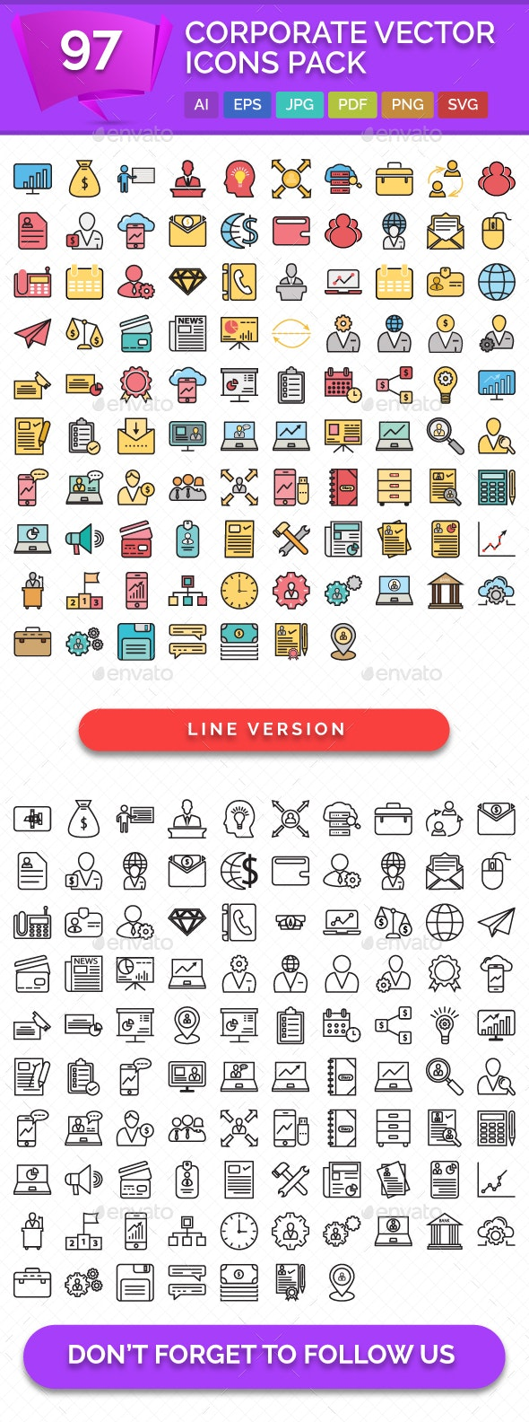 97 Corporate Vector Icons Pack - Icons