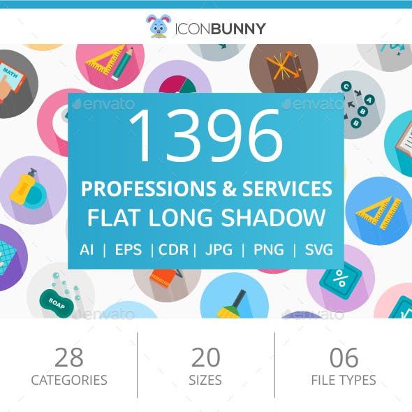 1396 Professions & Services Flat Long Shadow Icons