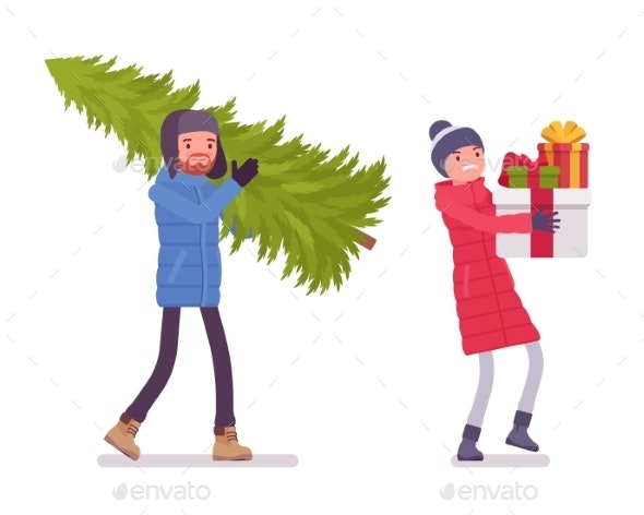 Man and Woman in Down Jacket with Christmas Tree - People Characters