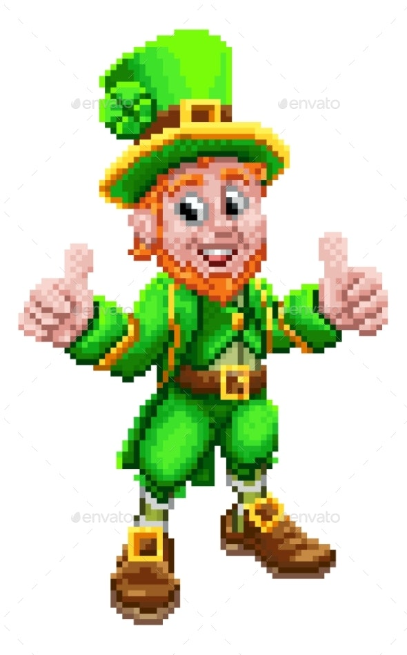 Leprechaun Retro 8 Bit Arcade Video Game Pixel Art - People Characters