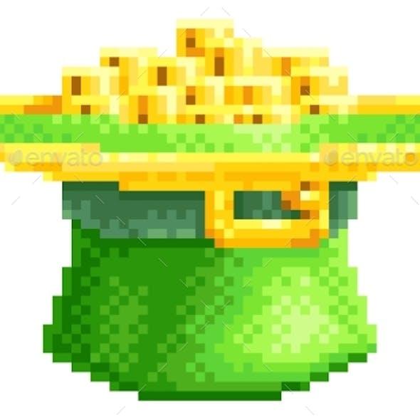 St Patricks Day Leprechaun Hat Pixel Art Icon
