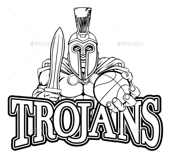 Spartan Trojan Basketball Sports Mascot - Sports/Activity Conceptual