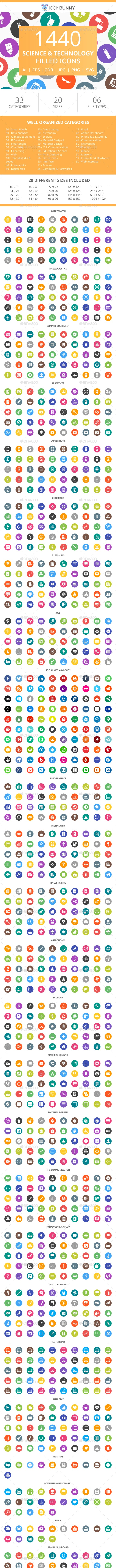 1440 Science & Technology Filled Round Icons - Icons