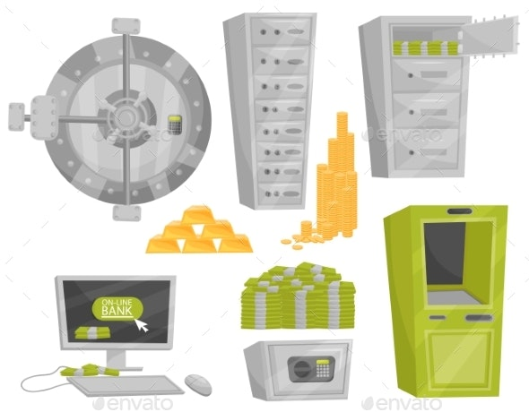 Flat Vector Set of Bank Icons - Industries Business