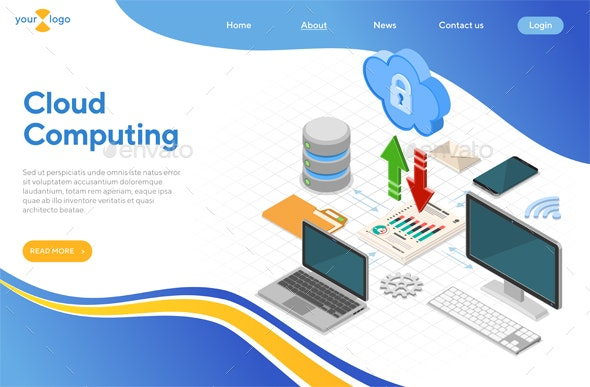 Cloud Computing Technology Isometric - Computers Technology