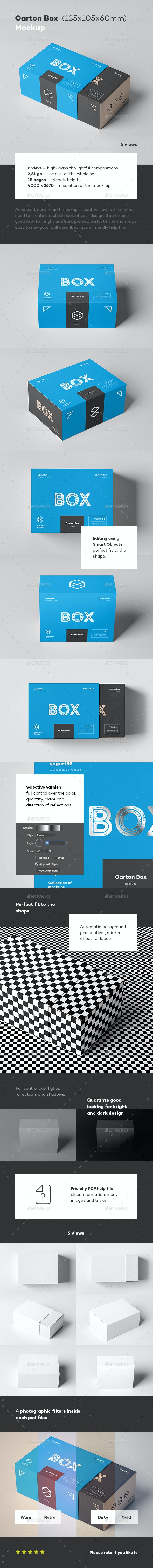 Carton Box Mock-up 135x105x60 & Wrapper - Miscellaneous Packaging