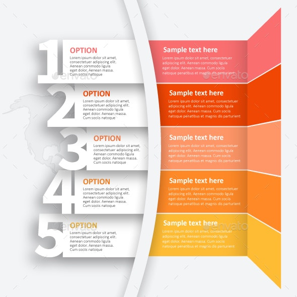 Abstract 3D vector Infographics from 5 steps. Business template . - Infographics