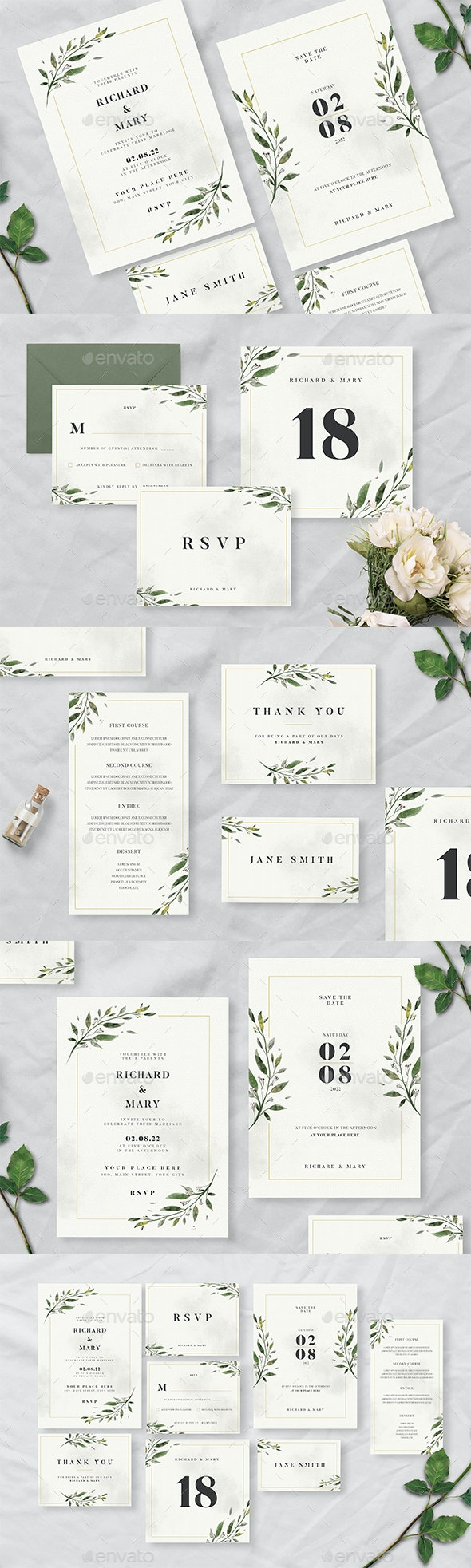 Watercolor Leaf Wedding Invitation Suite - Cards & Invites Print Templates