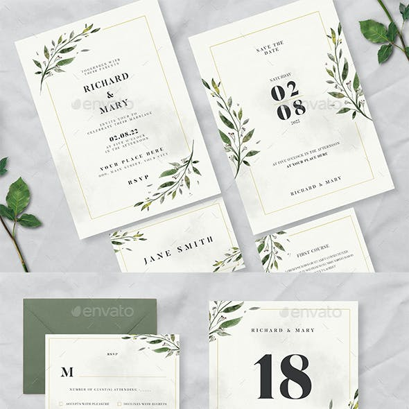 Watercolor Leaf Wedding Invitation Suite