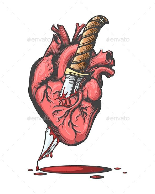 Heart Pierced by Knife - Tattoos Vectors