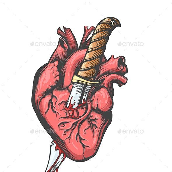 Heart Pierced by Knife