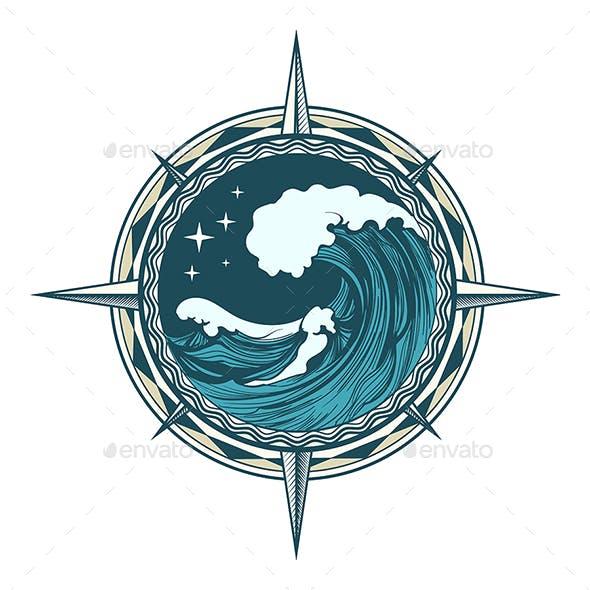 Retro Compass Nautical Emblem