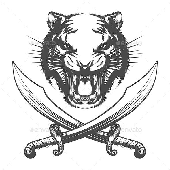 Tiger Face and Arabian Swords - Tattoos Vectors