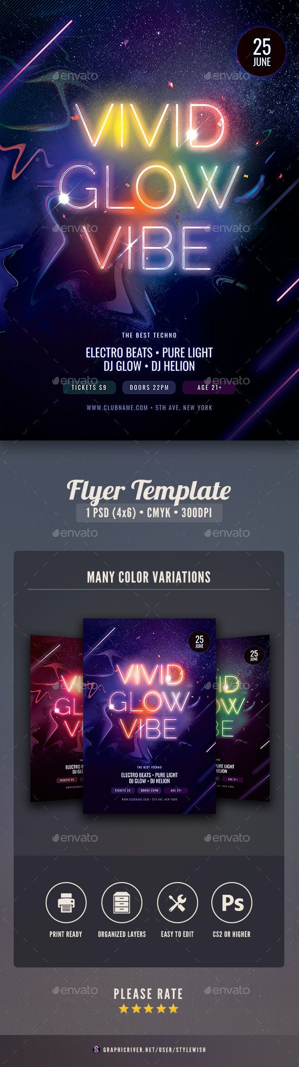 Vivid Glow Vibe Flyer - Clubs & Parties Events