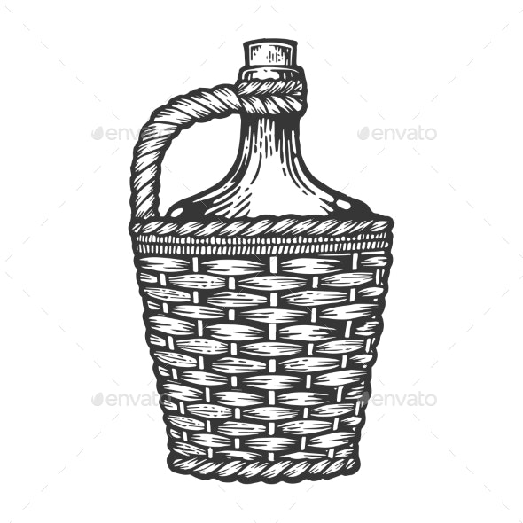 Wine Bottle Carboy Engraving Style Vector - Miscellaneous Vectors