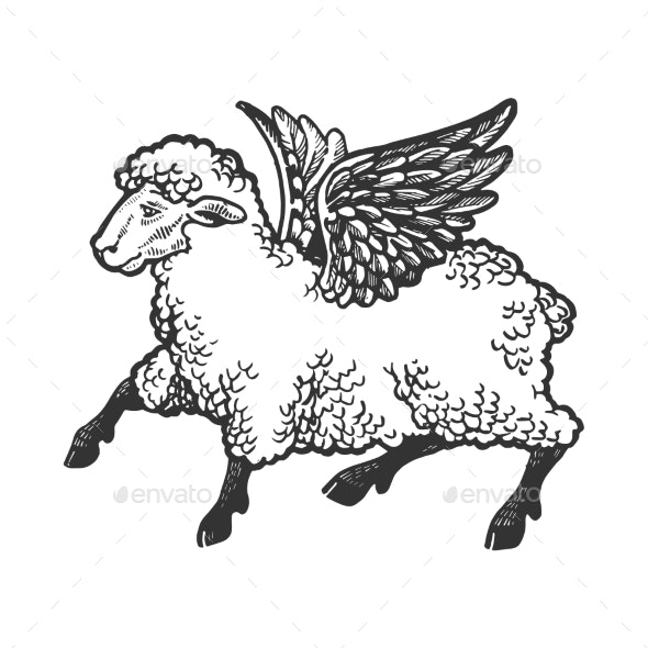 Angel Flying Sheep Engraving Vector - Miscellaneous Characters