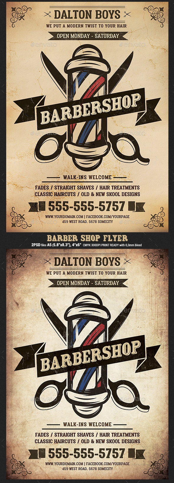 Vintage Barber Shop Flyer Template - Flyers Print Templates