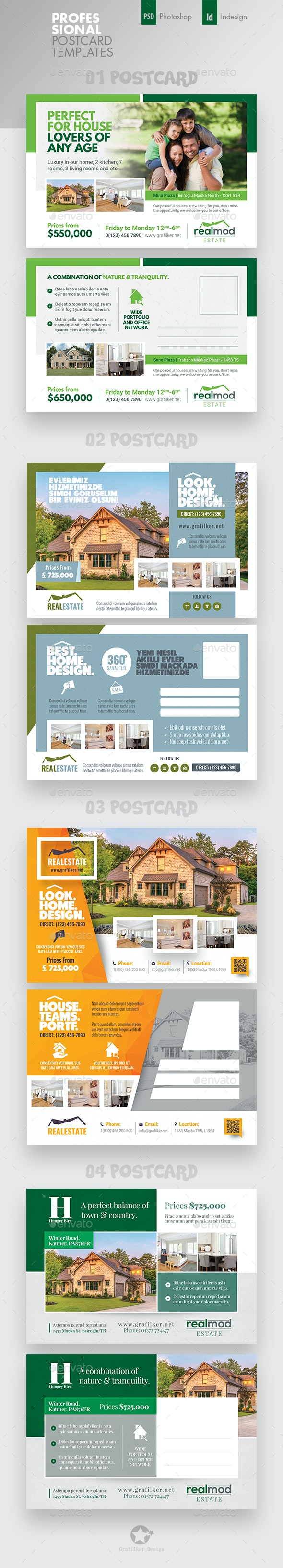 Real Estate Postcard Bundle Templates - Cards & Invites Print Templates