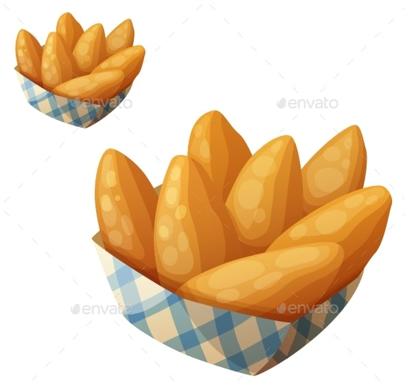 Chicken Fingers in the Paper Basket - Food Objects