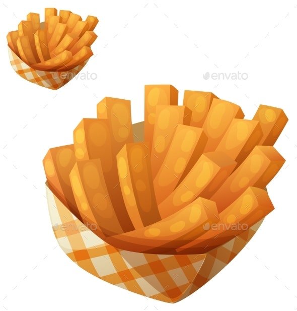Sweet Potato Fries in Paper Box - Food Objects
