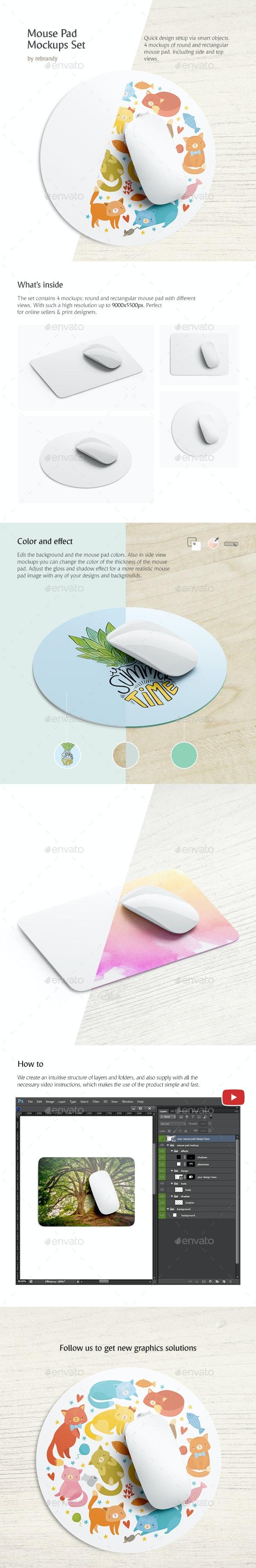 Mouse Pad Mockups Set - Product Mock-Ups Graphics