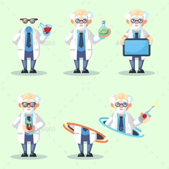 Set of Crazy Old Scientist Is Conducting - People Characters