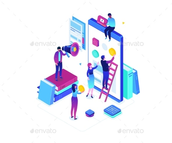 Mobile App Development - Modern Colorful Isometric - Web Technology