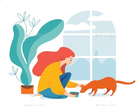 Woman Feeding a Cat - Miscellaneous Characters