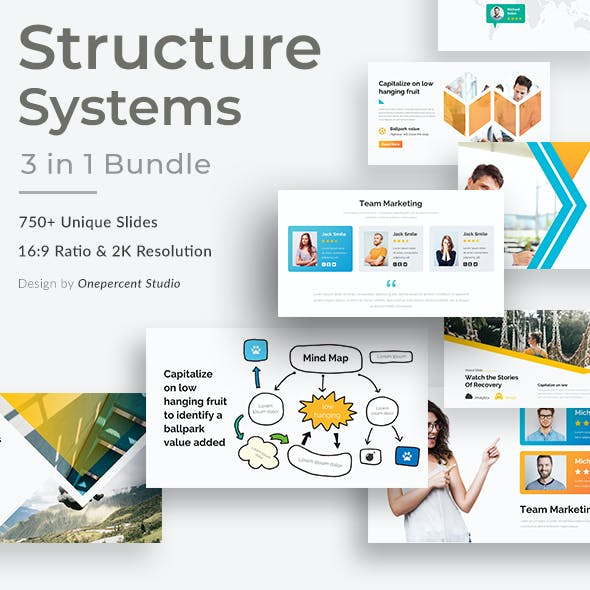 Structure System 3 in 1 Pitch Deck Bundle Keynote Template