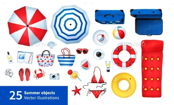 Vector Summertime Illustration Set of Beach Items - Travel Conceptual