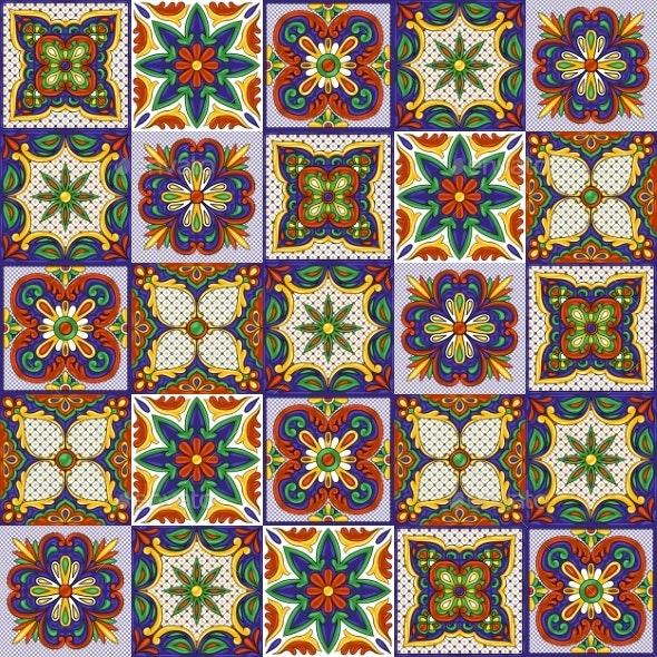 Mexican Talavera Ceramic Tile Pattern - Patterns Decorative