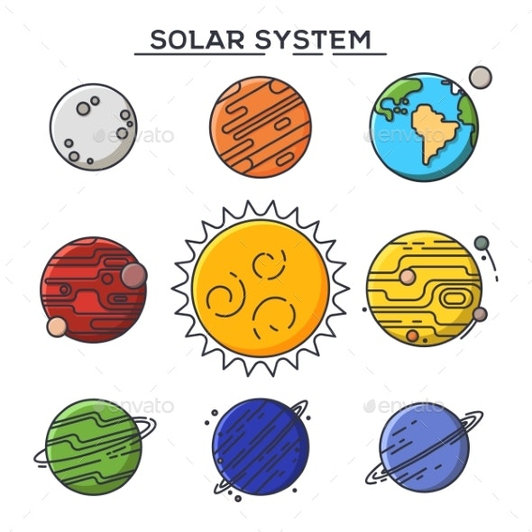 Sun and Solar System Planets - Miscellaneous Vectors