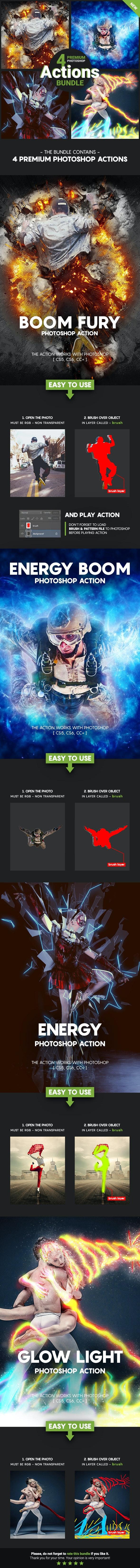 4 Premium Photoshop Actions Bundle - Feb19 #1 - Photo Effects Actions