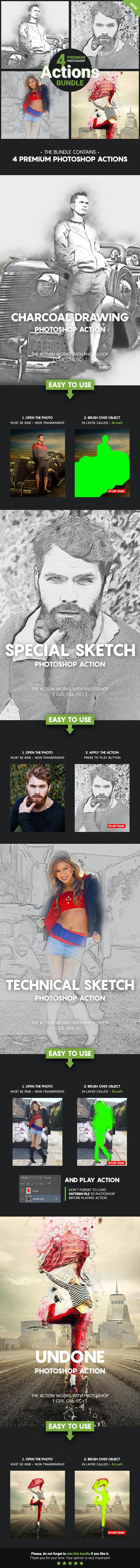 4 Premium Photoshop Actions Bundle - Feb19 #2 - Photo Effects Actions