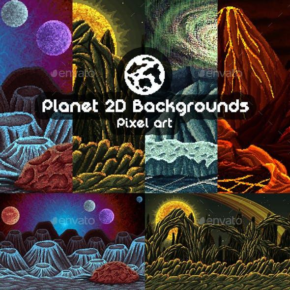 2D Game Planet Backgrounds Pixel Art