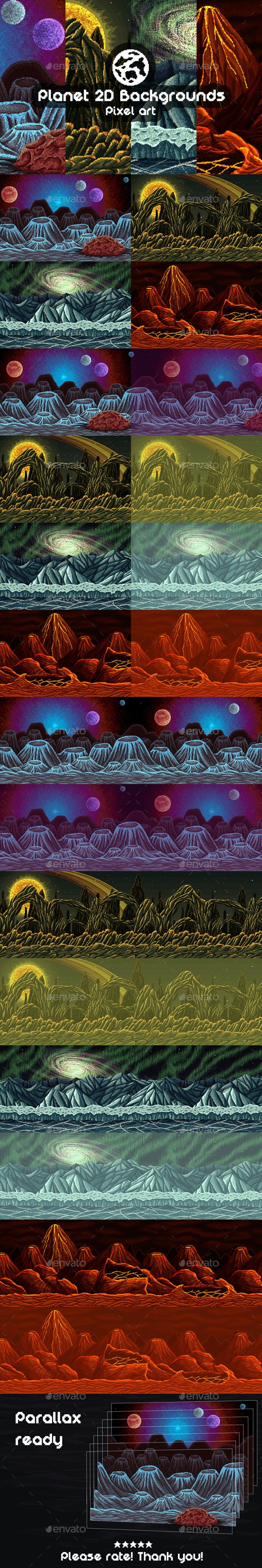 2D Game Planet Backgrounds Pixel Art - Backgrounds Game Assets