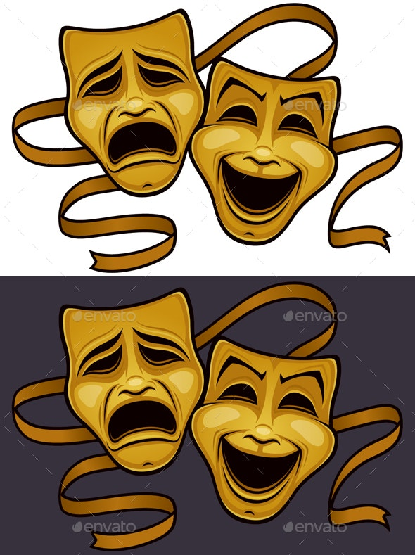 Gold Comedy and Tragedy Theater Masks - Man-made Objects Objects