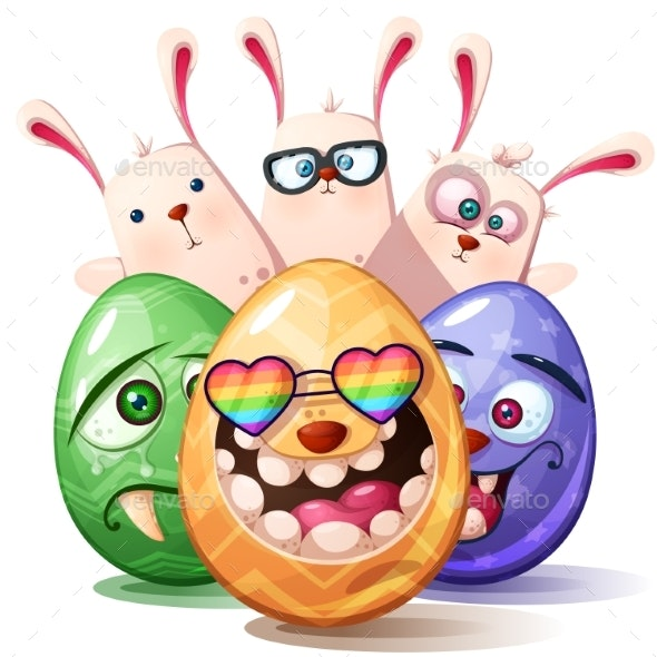 Happy Easter Cartoon Set Egg Icon - Flowers & Plants Nature