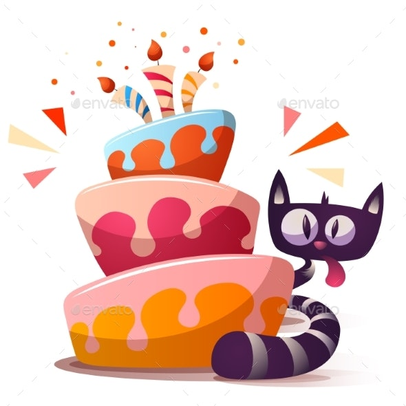 Cat with Cake - Animals Characters
