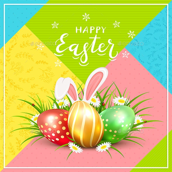 Easter Eggs with Rabbit Ears in Grass on Colorful Background - Miscellaneous Seasons/Holidays